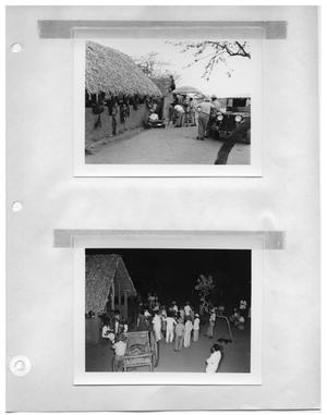 Primary view of object titled '[Thatched Roof Building with Saddles] and [Social Gathering]'.