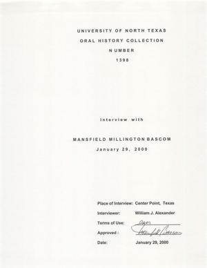 Primary view of object titled 'Oral History Interview with Mansfield Millington Bascom, January 29, 2000'.