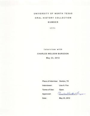 Primary view of object titled 'Oral History Interview with Charles Weldon Burgoon, May 23, 2012'.