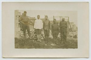 Primary view of object titled '[Photograph of Five Men at Construction Site]'.