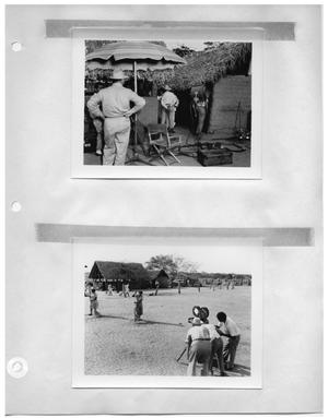 Primary view of object titled '[Director's Chair and Lighting Equipment on Set] and [Shot of Women Sweeping the Yard]'.
