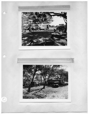 Primary view of object titled '[Shady Campsite with Crew and Bus] and [Shady Campsite]'.
