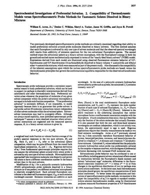 Primary view of object titled 'Spectrochemical Investigation of Preferential Solvation. 2. Compatibility of Thermodynamic Models versus Spectrofluorometric Probe Methods for Tautomeric Solutes Dissolved in Binary Mixtures'.