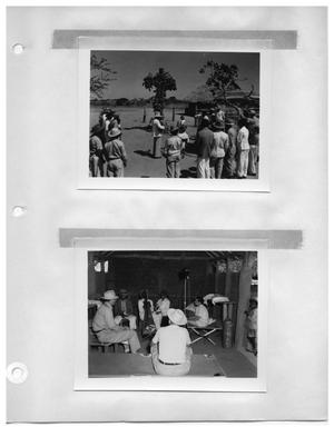 Primary view of object titled '[Foliage Covered Cross in Venezuelan Town] and [Musicians and Crew Sit on Cots]'.