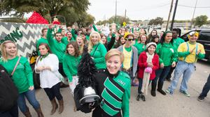 Primary view of object titled '[Students in UNT Homecoming parade]'.