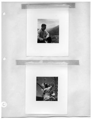 Primary view of object titled '[Man with View from Mountaintop] and [Jotting Down a Note on a Piece of Paper Taped to the Camera]'.