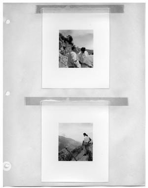 [Crew on a Mountain Road] and [Two Men Standing on the Side of a Mountain Road, Overlooking a Valley]