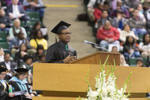 Primary view of object titled '[Speaker at UNT Fall Commencement]'.