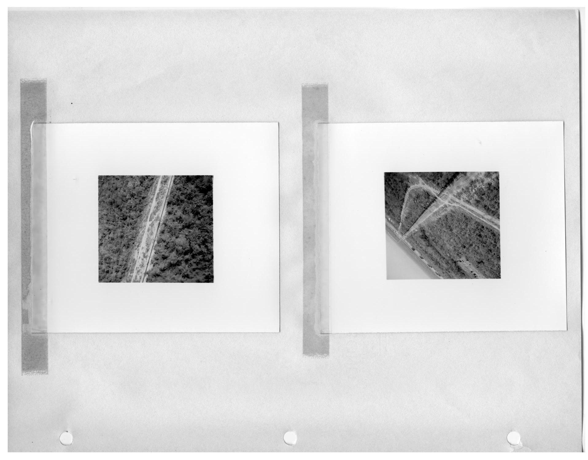 [Aerial View of Cleared RoadsThrough Forest] and [Aerial View of Intersecting Roads Through Forest]                                                                                                      [Sequence #]: 1 of 2