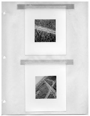 [Aerial View of Cleared RoadsThrough Forest] and [Aerial View of Intersecting Roads Through Forest]