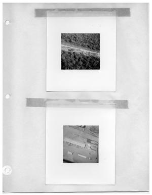Primary view of object titled '[Aerial View of Cleared Road Through Forest] and [Aerial View of Industrial Plant]'.