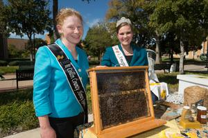 Primary view of object titled '[Collin County Honey Queen at Food Day event]'.
