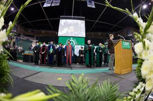 Primary view of object titled '[UNT Fall Commencement stage]'.