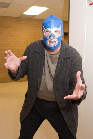 Primary view of object titled '[Person in wrestling mask during Halloween]'.