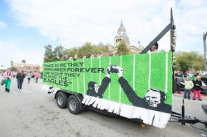 Primary view of object titled '[UNT homecoming parade float]'.