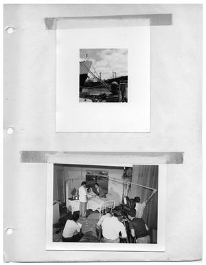 Primary view of object titled '[Large Ship Lashed to the Dock] and [The Set of Hospital Scene]'.