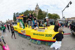 Primary view of object titled '[Sonic float in UNT Homecoming parade]'.