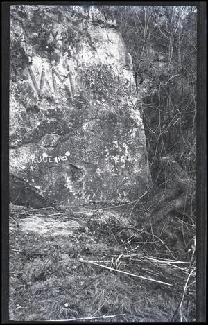 Primary view of object titled 'Graffiti on Rock in Forest'.