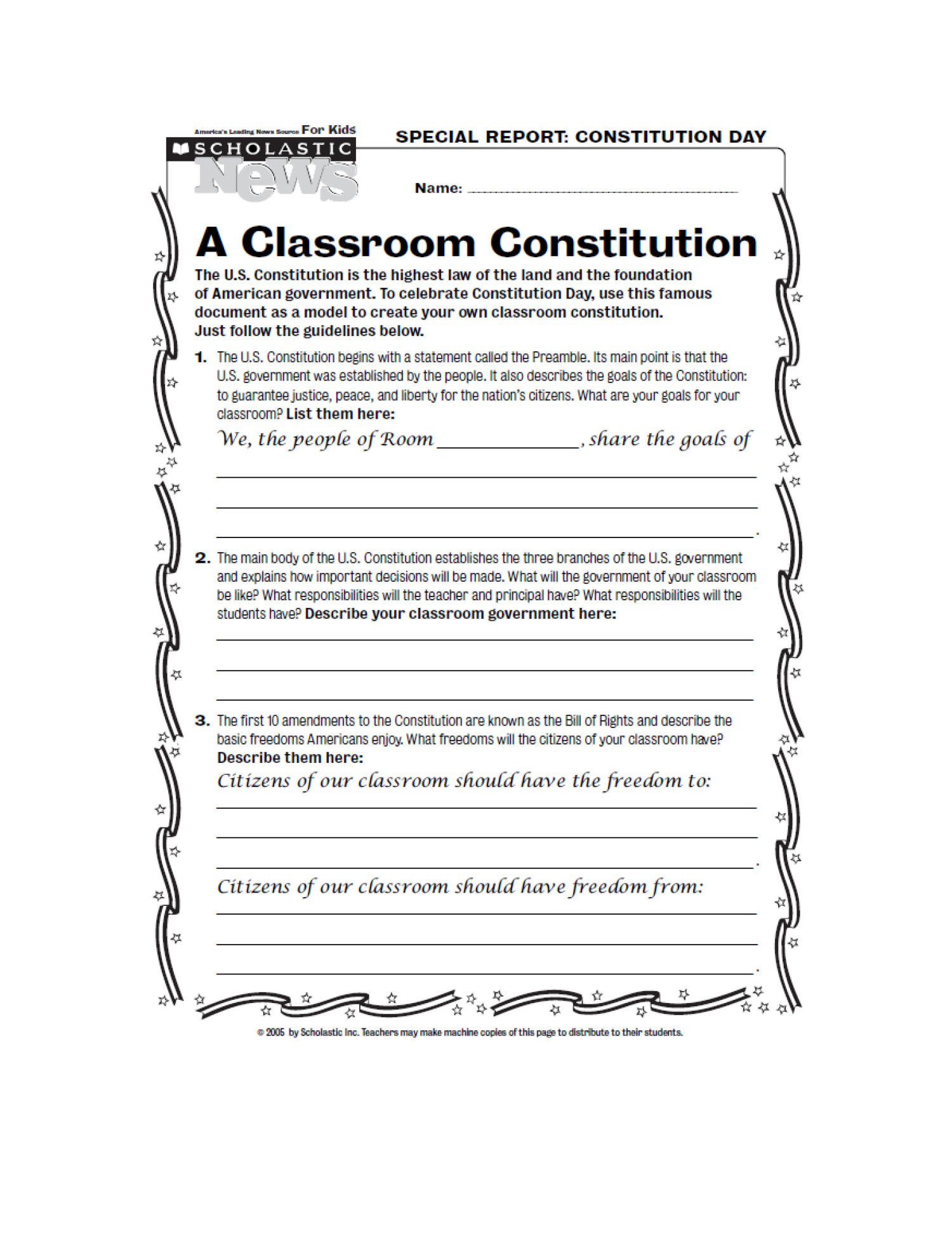 Six Big Ideas In The Constitution Handout 3