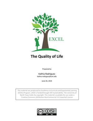 Primary view of object titled 'The Quality of Life'.
