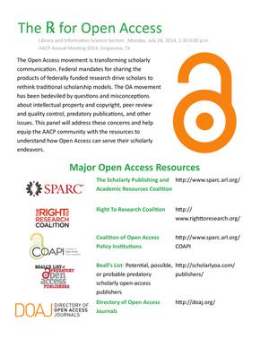 Primary view of object titled 'The Rx for Open Access [handout]'.
