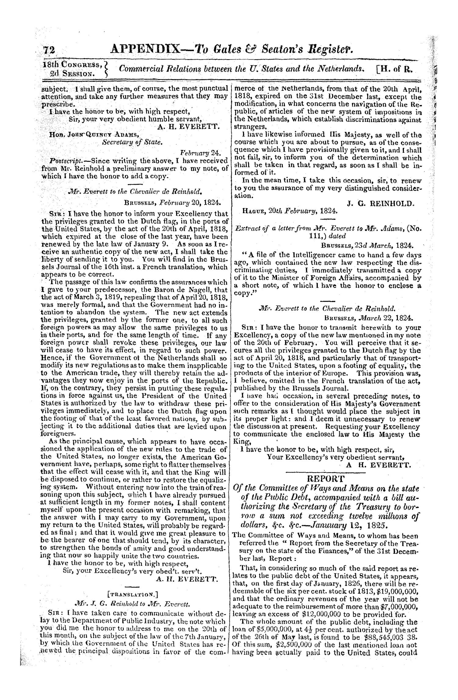 Register of Debates in Congress, Comprising the Leading Debates and Incidents of the Second Session of the Eighteenth Congress                                                                                                      72