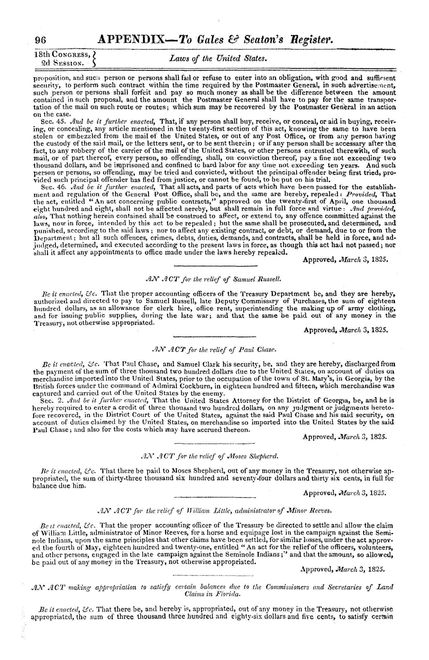 Register of Debates in Congress, Comprising the Leading Debates and Incidents of the Second Session of the Eighteenth Congress                                                                                                      96