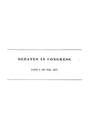 Primary view of object titled 'Register of Debates in Congress, Comprising the Leading Debates and Incidents of the First Session of the Twenty-Fifth Congress'.