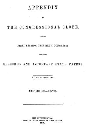 Primary view of The Congressional Globe, [Volume 19]: Thirtieth Congress, First Session, Appendix