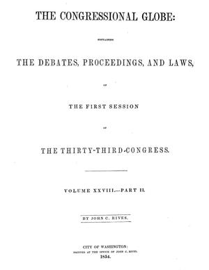 Primary view of The Congressional Globe, Volume 28, Part 2: Thirty-Third Congress, First Session