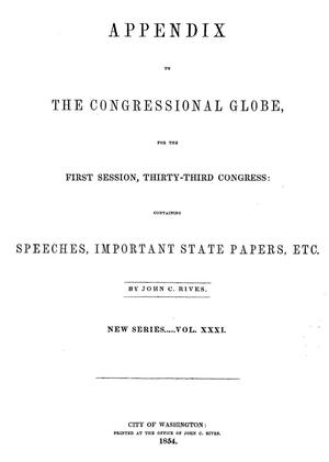 Primary view of The Congressional Globe, Volume [29]: Thirty-Third Congress, First Session, Appendix