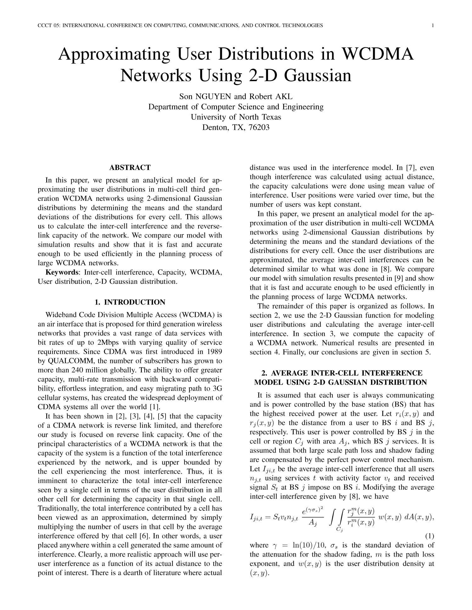 Approximating User Distributions in WCDMA Networks Using 2-D Gaussian                                                                                                      1