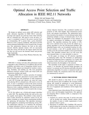 Primary view of object titled 'Optimal Access Point Selection and Traffic Allocation in IEEE 802.11 Networks'.