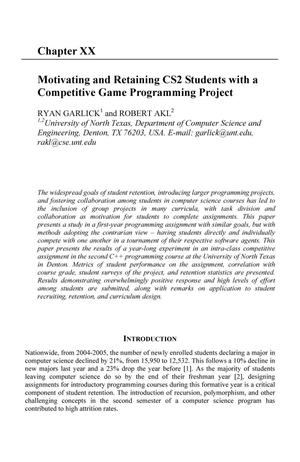 Primary view of object titled 'Motivating and Retaining CS2 Students with a Competative Game Programming Project'.