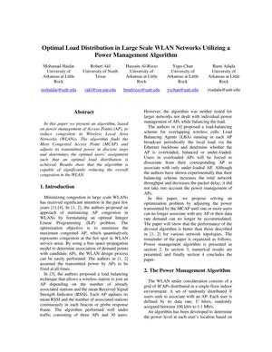 Primary view of object titled 'Optimal Load Distribution in Large Scale WLAN Networks Utilizing a Power Management Algorithm'.