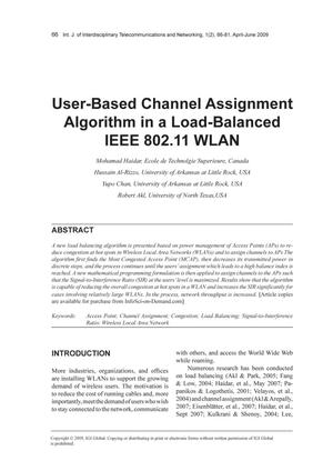 Primary view of object titled 'User-Based Channel Assignment Algorithm in a Load-Balanced IEEE 802.11 WLAN'.