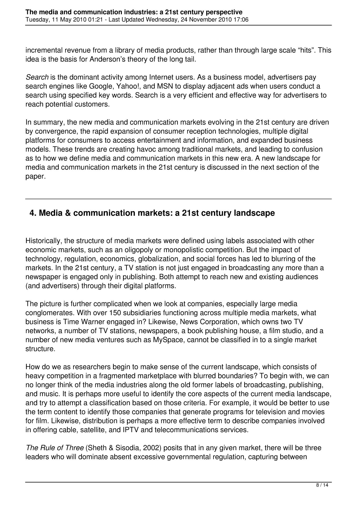 The Media and Communication Industries: A 21st Century