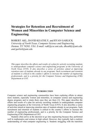 Strategies for Retention and Recruitment of Women and Minorities in Computer Science and Engineering