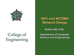 Primary view of object titled 'WiFi and WCDMA Network Design'.