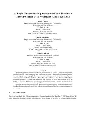 A Logic Programming Framework for Semantic Interpretation with WordNet and PageRank