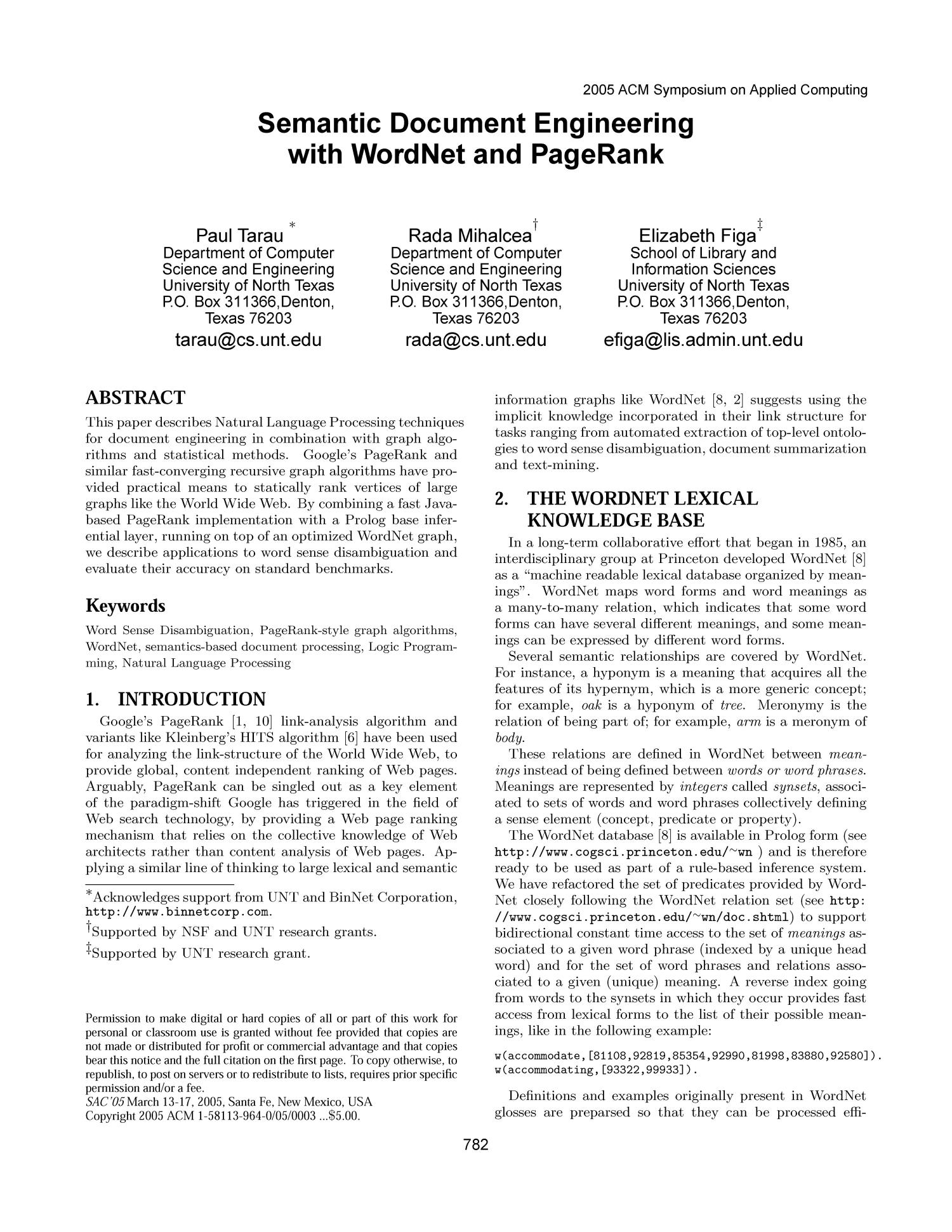 Semantic Document Engineering with WordNet and PageRank - Page 782