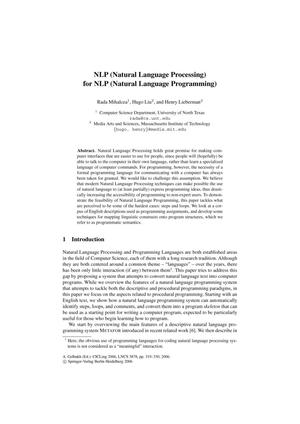 Primary view of object titled 'NLP (Natural Language Processing) for NLP (Natural Language Programming)'.