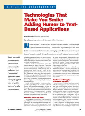 Primary view of object titled 'Technologies That Make You Smile: Adding Humor to Text-Based Applications'.