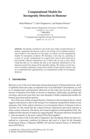 Computational Models for Incongruity Detection in Humour