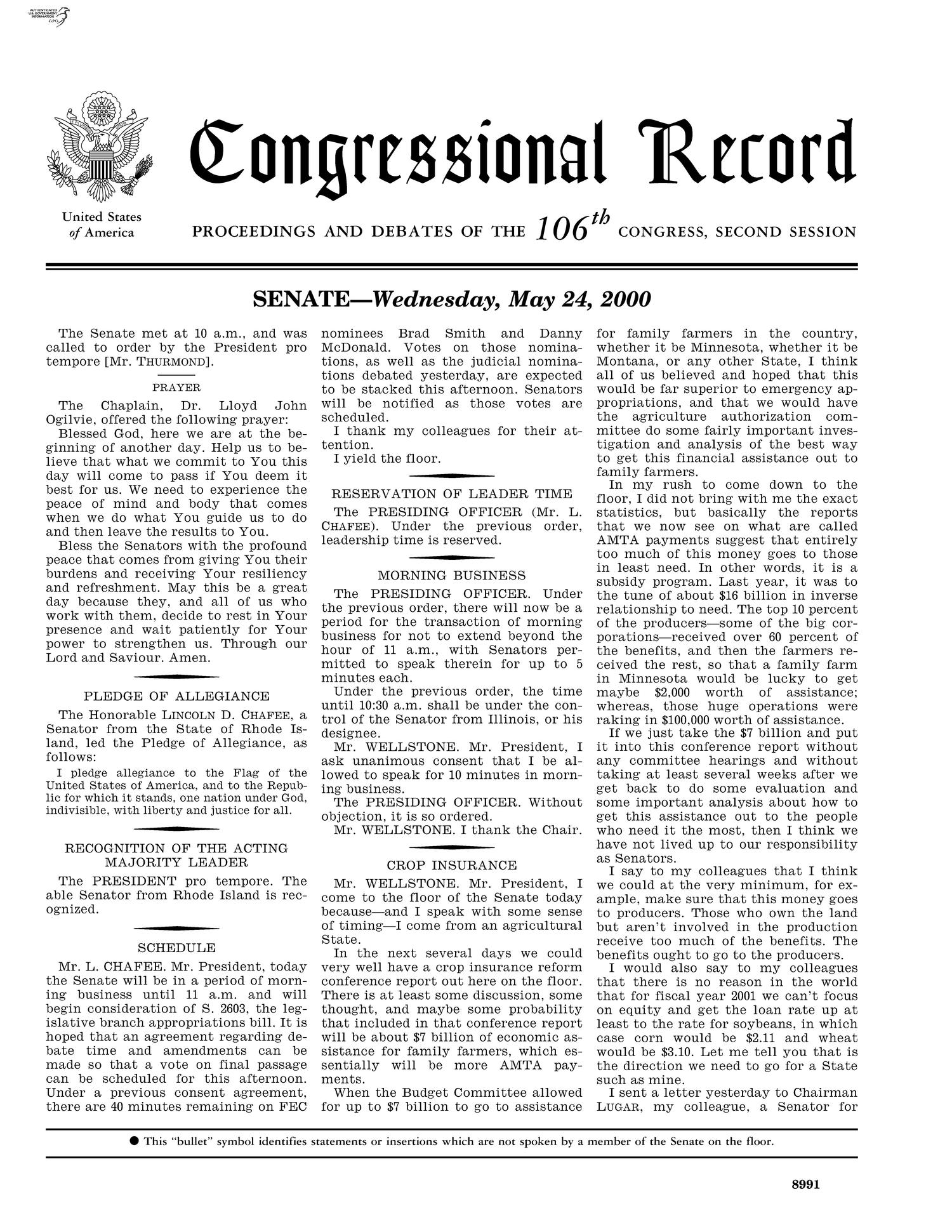 Congressional Record: Proceedings and Debates of the 106th Congress, Second Session, Volume 146, Part 7                                                                                                      None