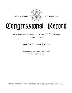 Congressional Record: Proceedings and Debates of the 107th Congress, First Session, Volume 147, Part 20