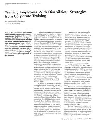 Primary view of object titled 'Training Employees With Disabilities: Strategies from Corporate Training'.