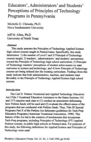 Primary view of object titled 'Educators', Administrators' and Students' Perceptions of Principles of Technology Programs in Pennsylvania'.