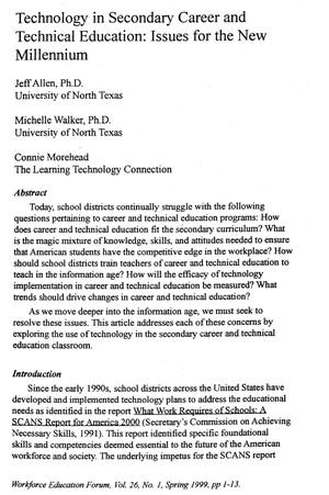 Technology in Secondary Career and Technical Education: Issues for the New Millennium