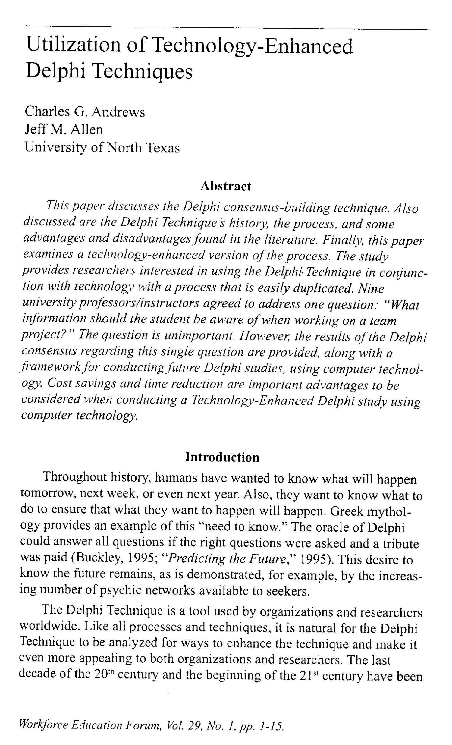 advantages of the delphi technique Read 5 answers by scientists with 5 recommendations from their colleagues to  the question asked by sajjad nazidizaji on feb 4, 2015.
